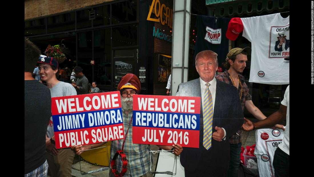 "A cut-out of Donald Trump seems to welcome Republicans to the Republican National Convention in Cleveland. CNN sent photographer <a href=""http://www.petervanagtmael.net/"" target=""_blank"">Peter van Agtmael</a> into the crowds of downtown Cleveland to get a handle on what it's like away from the politicians and delegates."