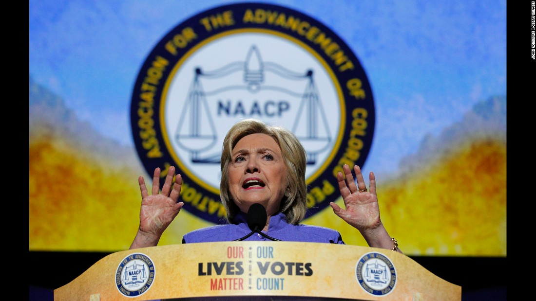 Hillary Clinton addresses the crowd in Cincinnati at the annual NAACP Convention on Monday, July 18.
