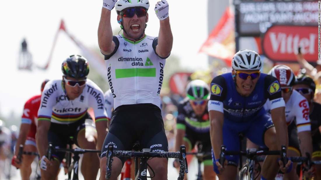 The opening stage was won by Mark Cavendish of Great Britain and Team Dimension Data. Cavendish, a sprinting expert, crossed the finish line ahead of Marcel Kittel of Germany and Etixx-Quick Step and Peter Sagan of Slovakia and Tinkoff.