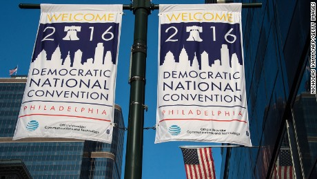 Banners announcing the US Democratic National Convention are displayed in Philadelphia on July 23, 2016, two days before the Democrats gather to formally annoint Hillary Clinton as their candidate for the November presidential election.