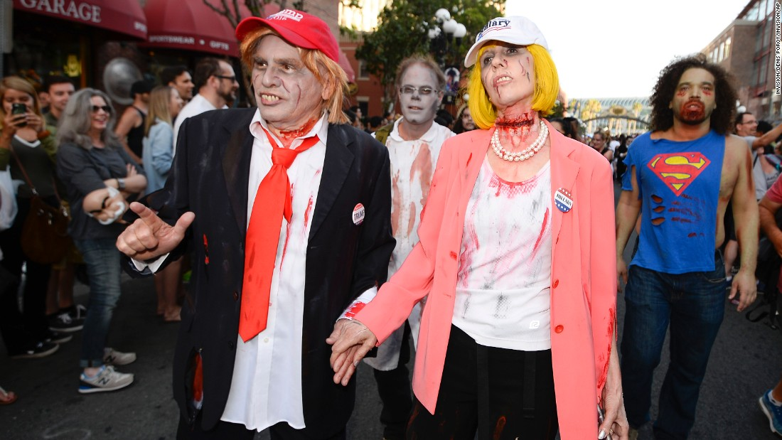 Husband and wife Dave Hester and Donna Hester dress as zombie Donald Trump and zombie Hillary Clinton during the Comic-Con Zombie Walk on Saturday, July 23 in San Diego.  Here are scenes from the annual gathering celebrating comics-related entertainment.