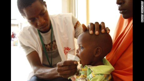 Doctors Without Borders medics examine a child at a center in the Maiduguri area.