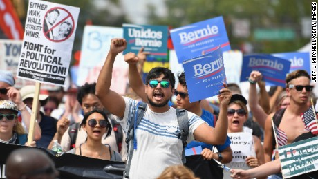 Bernie Sanders supporters march in Philadelphia during the Democratic National Convention in July.