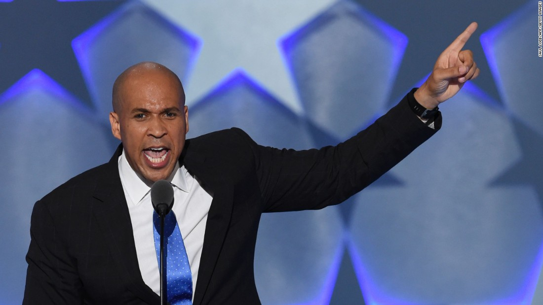 "In his speech Monday, U.S. Sen. Cory Booker included a message about togetherness. ""Patriotism is love of country. But you can't love your country without loving your countrymen and countrywomen,"" he said."