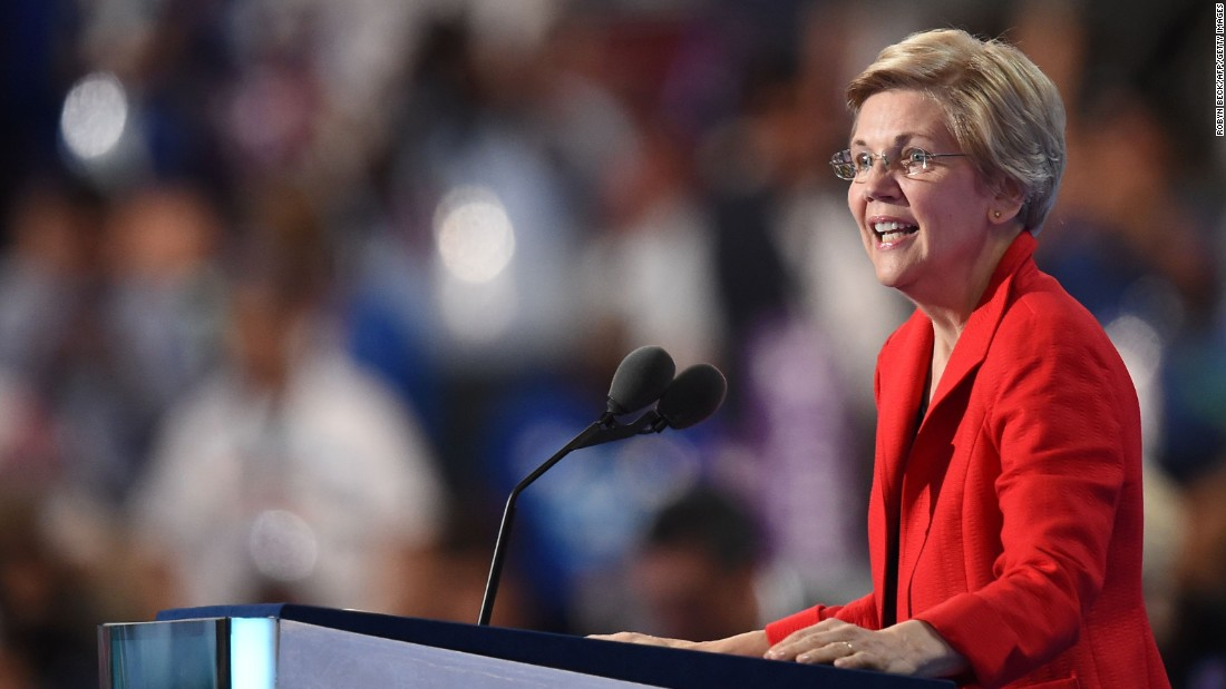 "U.S. Sen. Elizabeth Warren talks to the crowd in Philadelphia. ""We are not going to be Donald Trump's hate-filled America,"" she said. ""Not now. Not ever."""