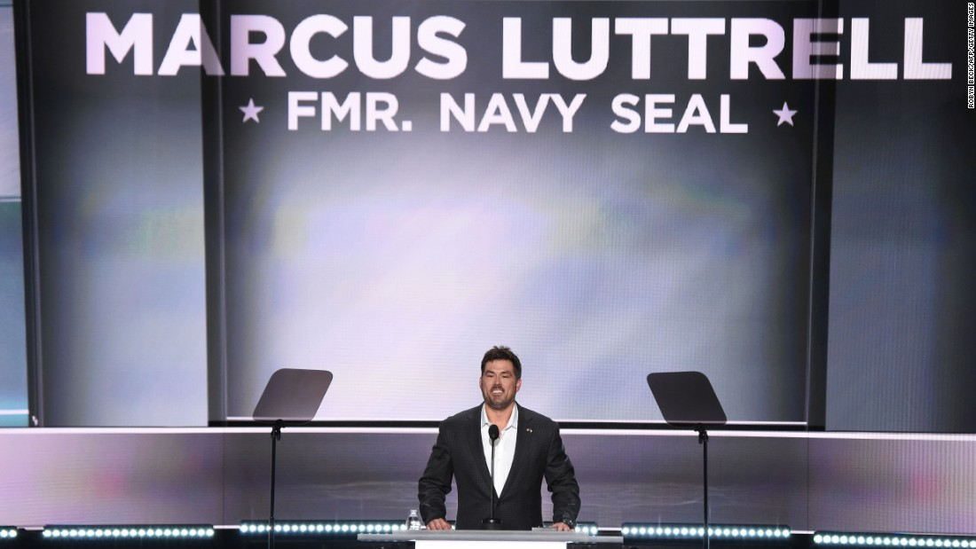 "Marcus Luttrell, a former Navy SEAL who was awarded the Navy Cross for his service in Afghanistan, <a href=""http://www.cnn.com/videos/politics/2016/07/19/rnc-convention-marcus-luttrell-veterans-sot.cnn"" target=""_blank"">speaks at the Republican National Convention</a> on Monday, July 18."
