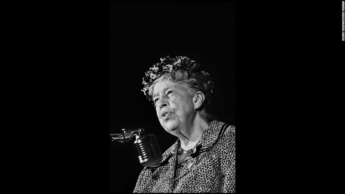 Former first lady Eleanor Roosevelt speaks at the convention. Roosevelt, who had supported Johnson over Kennedy as the nominee, died two years later at the age of 75.