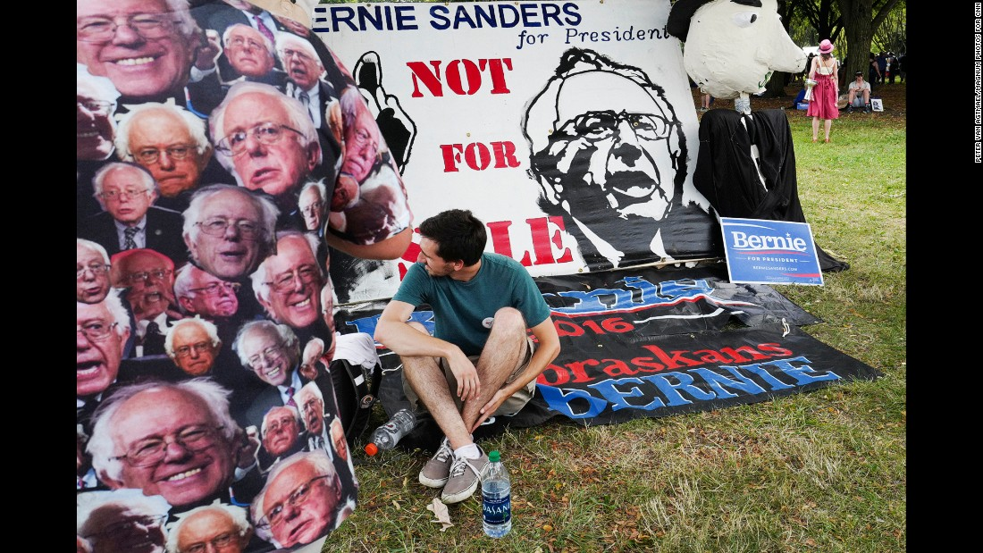 Many of the protesters support Sanders, who finished second to Hillary Clinton in the presidential primaries.