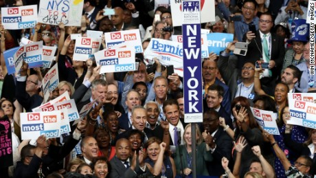 The New York delegation casts their votes during roll call along with Sen. Chuck Schumer (D-NY), New York Gov. Andrew Cuomo, Sen. Kirsten Gillibrand (D-NY),  Rep. Charles Rangel (D-NY) and New York City Mayor Bill De Blasio on the second day of the Democratic National Convention at the Wells Fargo Center, July 26, 2016 in Philadelphia, Pennsylvania. An estimated 50,000 people are expected in Philadelphia, including hundreds of protesters and members of the media. The four-day Democratic National Convention kicked off July 25.