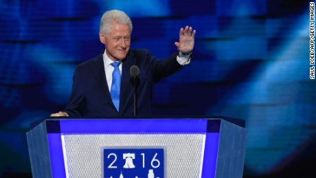 Former US president Bill Clinton addresses the second day of the Democratic National Convention at the Wells Fargo Center, July 26, 2016 in Philadelphia, Pennsylvania.
