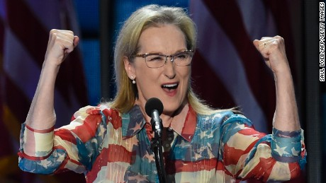Actress Meryl Streep addresses the Democratic National Convention at the Wells Fargo Center, July 26, 2016 in Philadelphia, Pennsylvania.