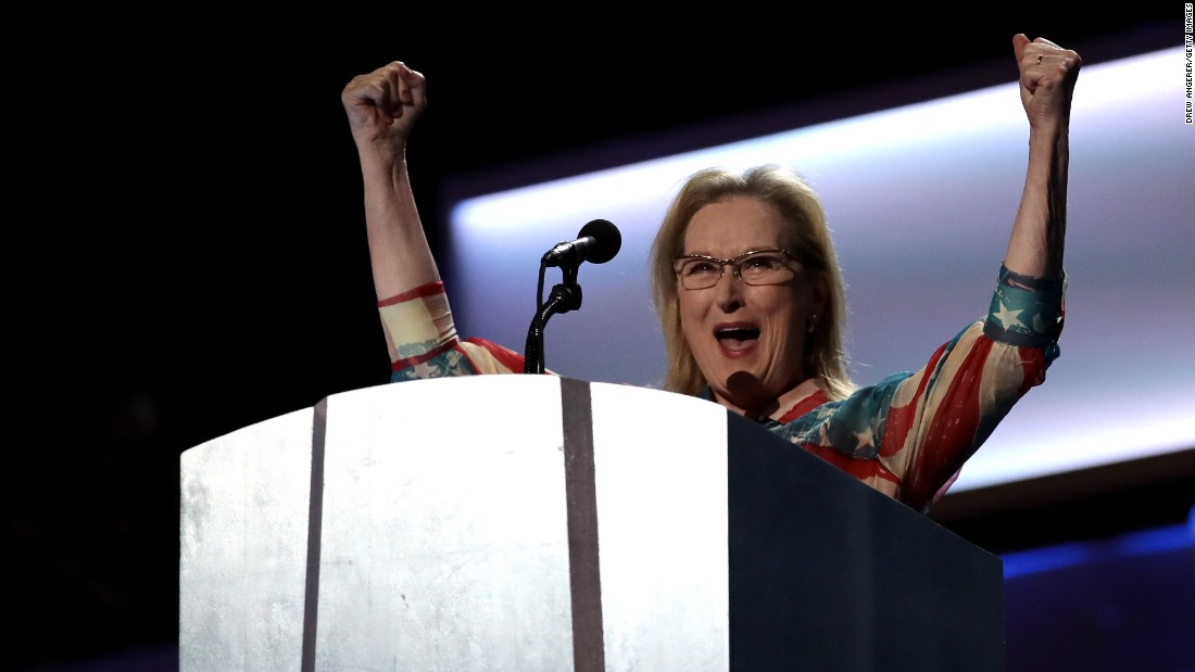 "Actress Meryl Streep addresses the crowd before Clinton's video message. Streep said Clinton will be the first female President of the United States, ""but she won't be the last."""