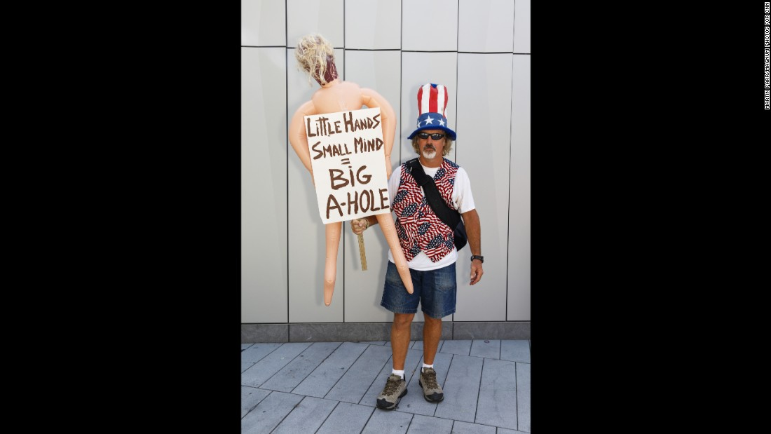 British photographer Martin Parr has captured portraits of protesters at the Republican and Democratic conventions. Here, Terry Kaye shares his feelings about GOP nominee Donald Trump outside the Republican National Convention in Cleveland.