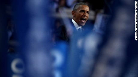 US President Barack Obama delivers remarks on the third day of the Democratic National Convention at the Wells Fargo Center, July 27, 2016 in Philadelphia, Pennsylvania. Democratic presidential candidate Hillary Clinton received the number of votes needed to secure the party's nomination. An estimated 50,000 people are expected in Philadelphia, including hundreds of protesters and members of the media. The four-day Democratic National Convention kicked off July 25.