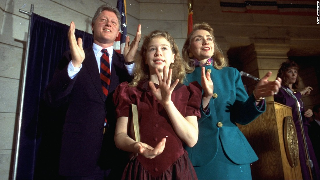 The Clintons celebrate Bill's inauguration as governor in September 1991.