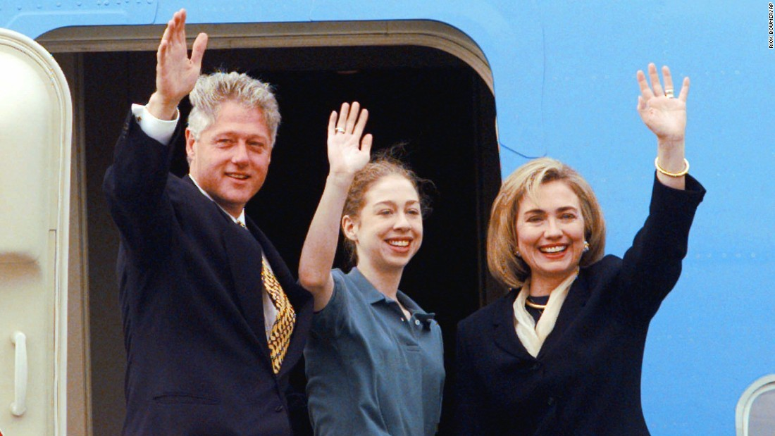 The Clintons wave to supporters before leaving Little Rock in November 1996. The President had just been re-elected.