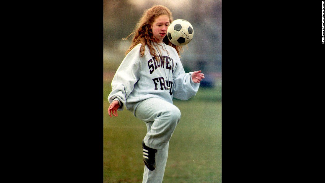 Chelsea attends soccer practice in Washington in January 1993.