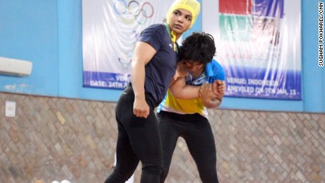 Olympic wrestler Sakshi Malik (front) trains in Haryana, India.