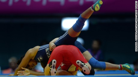Vinesh Phogat competes in the 2014 Asian Games.