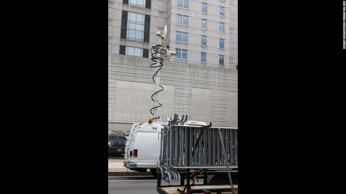 A satellite truck is parked outside of City Hall, where some protesters gathered in downtown Philadelphia.