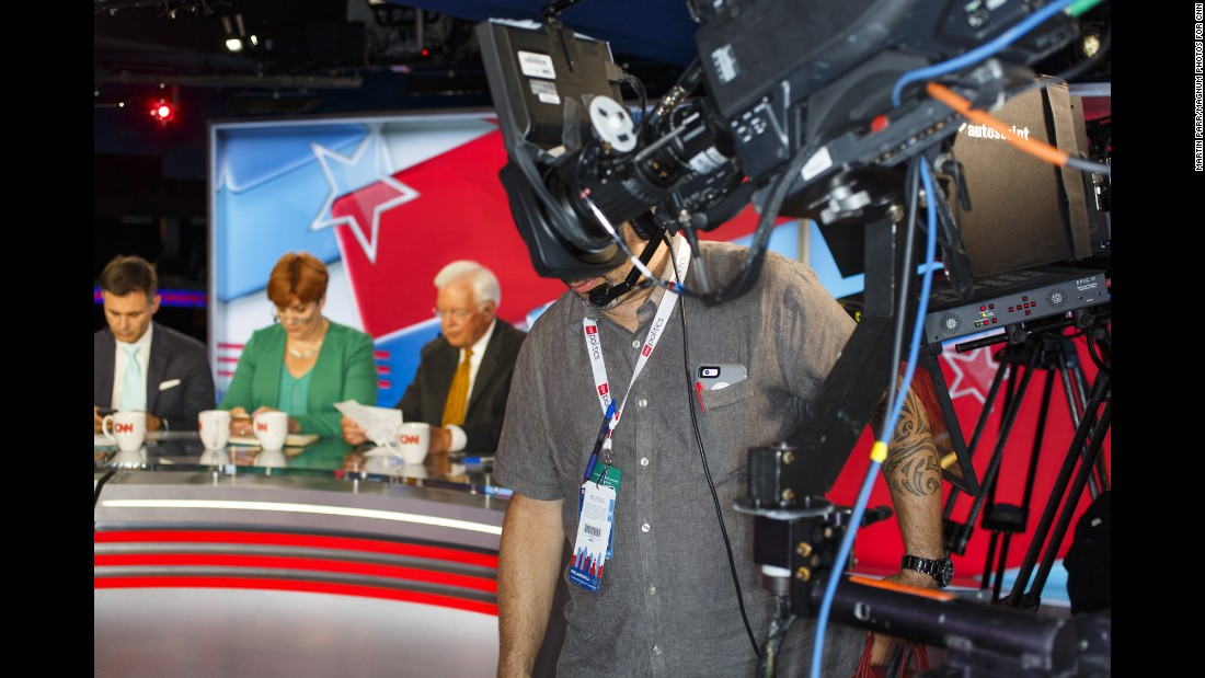 CNN prepares to broadcast from the suite level of the arena.