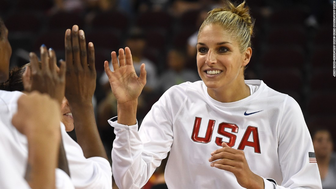 Elena Delle Donne of USA Basketball is introduced at an exhibition against the reserve team in preparation for Rio.