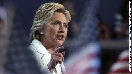 PHILADELPHIA, PA - JULY 28:  Democratic presidential candidate Hillary Clinton delivers remarks during the fourth day of the Democratic National Convention at the Wells Fargo Center, July 28, 2016 in Philadelphia, Pennsylvania. Democratic presidential candidate Hillary Clinton received the number of votes needed to secure the party's nomination. An estimated 50,000 people are expected in Philadelphia, including hundreds of protesters and members of the media. The four-day Democratic National Convention kicked off July 25.  (Photo by Jessica Kourkounis/Getty Images)