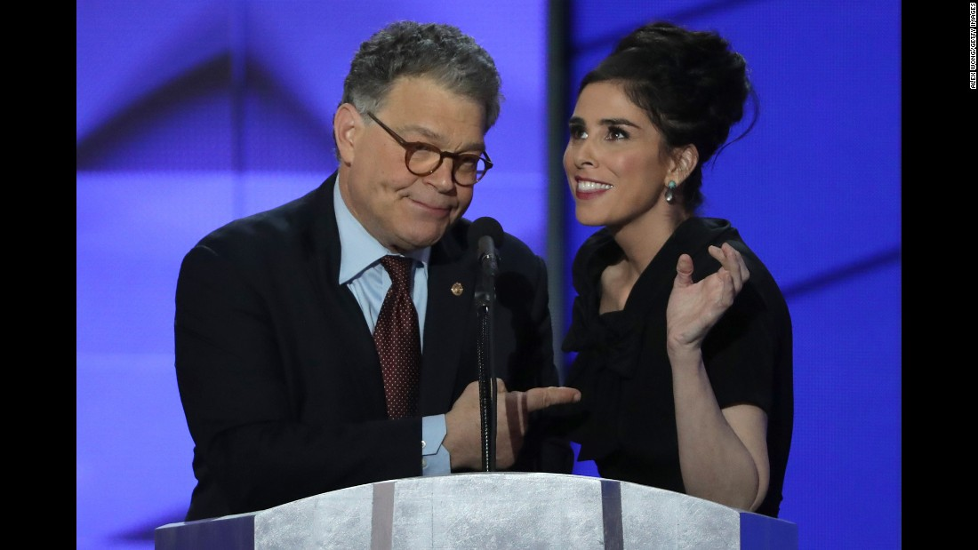 "U.S. Sen. Al Franken appears on stage with comedian Sarah Silverman at the Democratic National Convention on Monday, July 25. Franken, of course, has a comedic background as well, having once starred on ""Saturday Night Live."""
