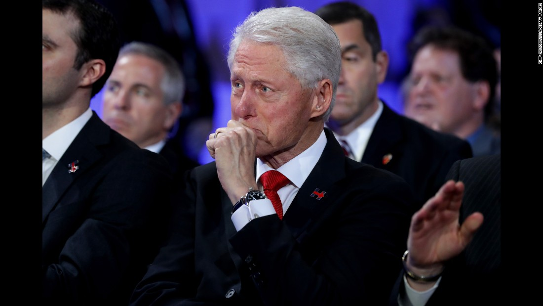 "Former U.S. President Bill Clinton becomes emotional as he listens to his daughter, Chelsea, introduce her mother at the Democratic convention on Thursday, July 28. <a href=""http://www.cnn.com/2016/07/28/politics/gallery/chelsea-clinton/index.html"" target=""_blank"">Photos: Chelsea Clinton through the years</a>"