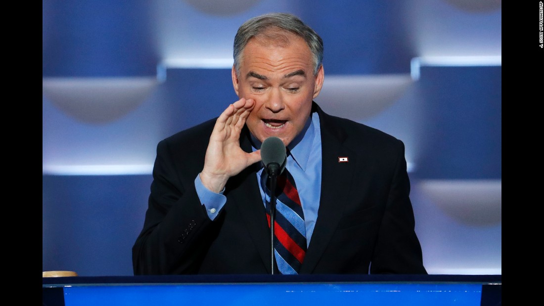 "U.S. Sen. Tim Kaine, Hillary Clinton's running mate on the Democratic ticket, speaks at the party's convention on Wednesday, July 27. During his speech, he said he and Clinton ""share this belief: Do all the good you can. And serve one another. Pretty simple."""