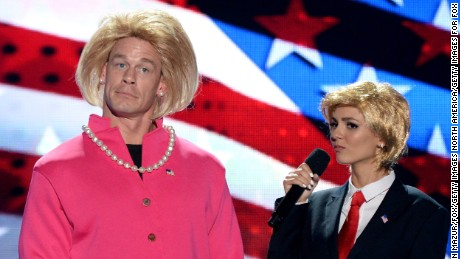 TCAs hosts John Cena and Victoria Justice impersonate Hillary Clinton and Donald Trump.
