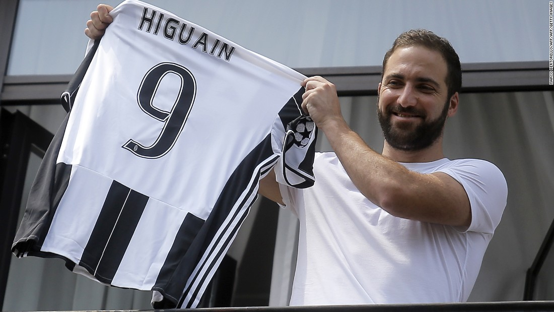 "On July 26, Argentina striker Gonzalo Higuain became the third most expensive signing in history, <a href=""http://www.cnn.com/2016/07/26/football/gonzalo-higuain-record-transfer-napoli-juventus/index.html"" target=""_blank"">joining Italian champion Juventus from Serie A rival Napoli for €90 million ($99 million).</a>"