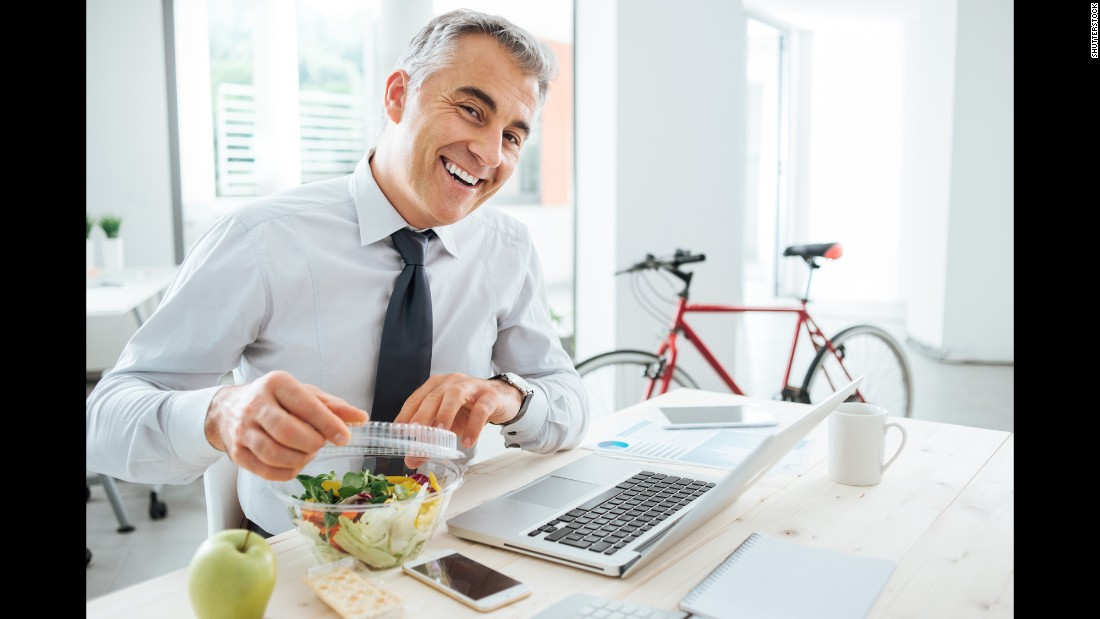 This office luncher is thrilled to enjoy a meal outside his cubicle walls. <strong>Tip 4: Eat away from your desk.</strong> Even if it's in the office break room, stepping away gives you a chance to de-stress.
