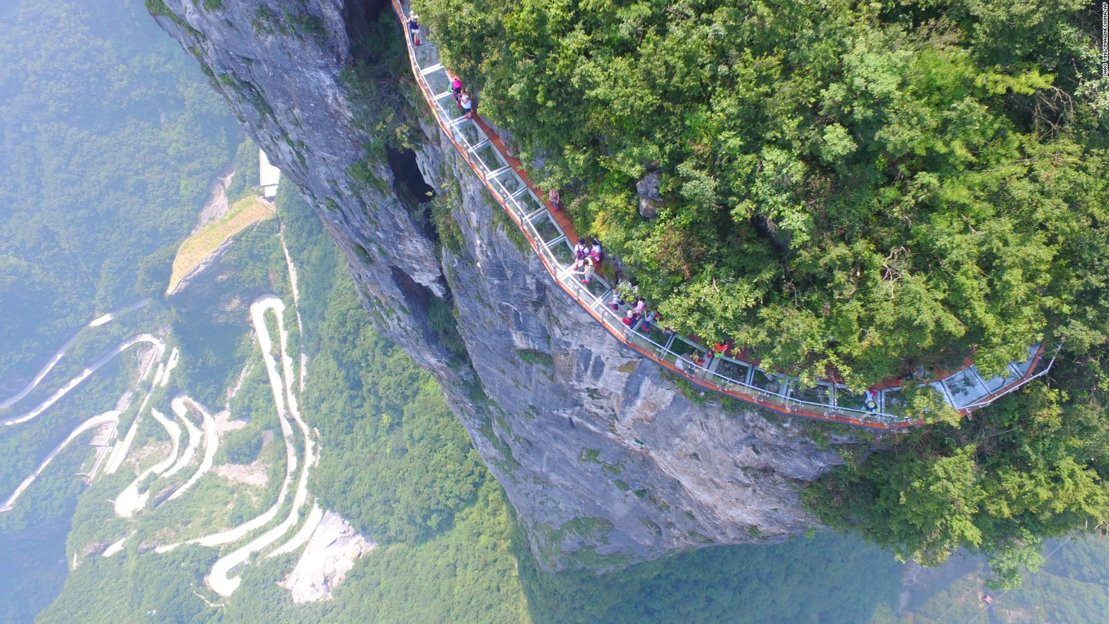 Chinas Cliffclinging Glass Skywalk Opens To Public CNN Travel - China opens worlds longest skywalk