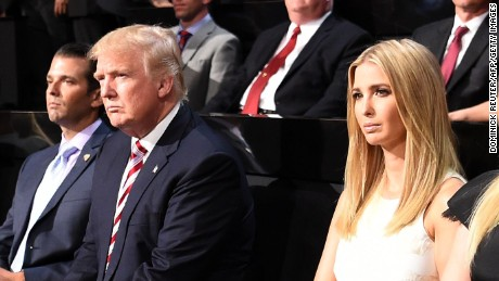 Donald Trump Jr., Presidential candidate Donald Trump, Ivanka Trump, and Tiffany Trump watch Eric Trump speak during the Republican National Convention at the Quicken Loans Arena in Cleveland, Ohio on July 20, 2016.