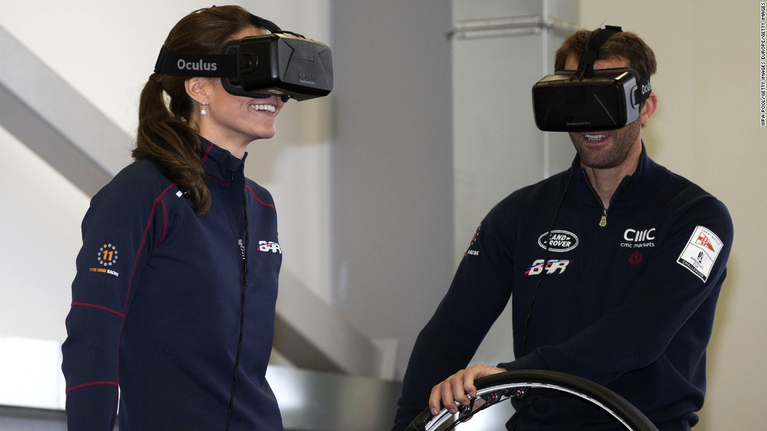 Here the Duchess of Cambridge joins Ainslie on a sailing simulator at his team's Portsmouth base in 2015.
