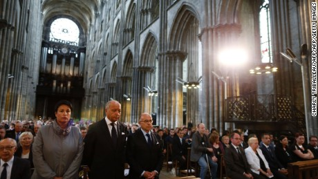Mourners included ex-Foreign Affairs Minister Laurent Fabius and Interior Minister Bernard  Cazeneuve.