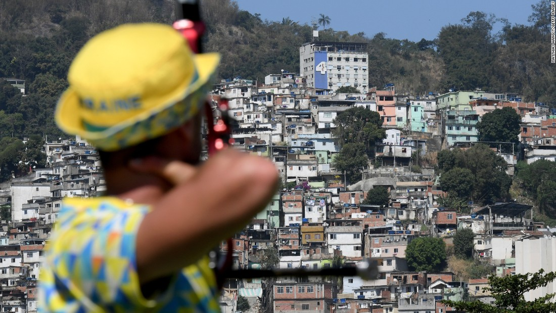 An archer trains in Rio on August 2.