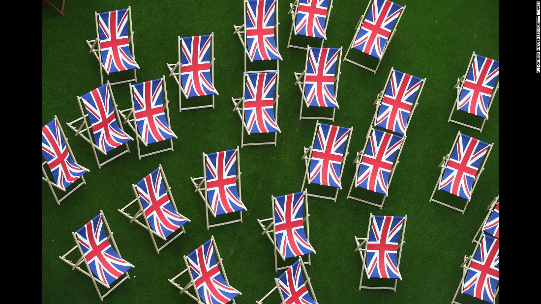 Deckchairs are seen at the Olympic Village on August 2.