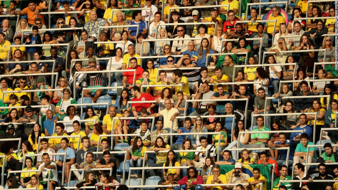The crowd, and noise levels, increased for Brazil's match against China. Although the crowd was passionate, the stadium in the Engenhao neighborhood of Rio was far from full. Games organizers told CNN 37,000 tickets for the event had been sold.