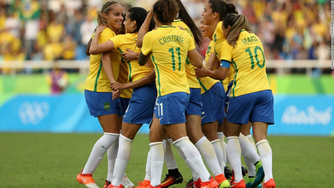 Monica opened the scoring for Brazil in the first half, much to the delight of the home crowd.