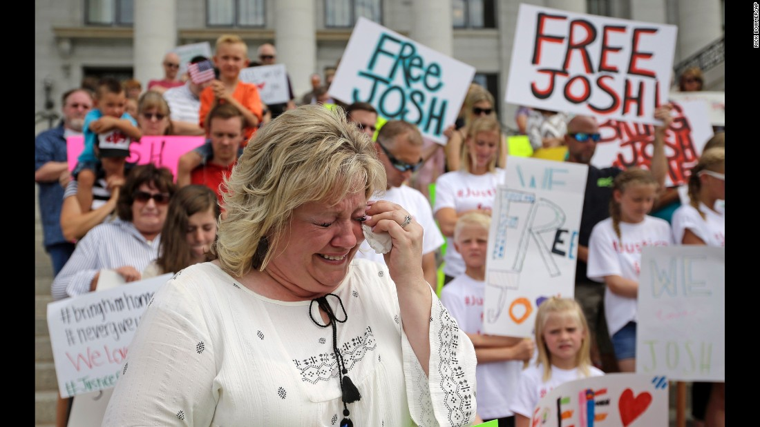 "Laurie Holt -- the mother of Josh Holt, <a href=""http://www.sltrib.com/home/4176131-155/im-on-my-knees-begging-you"" target=""_blank"">an American jailed in Venezuela</a> -- cries during a rally at the Utah State Capitol on Saturday, July 30. Josh Holt, 24, was arrested on suspicion of weapons charges after he traveled to Venezuela on a tourist visa in June. She said he was mistakenly accused."