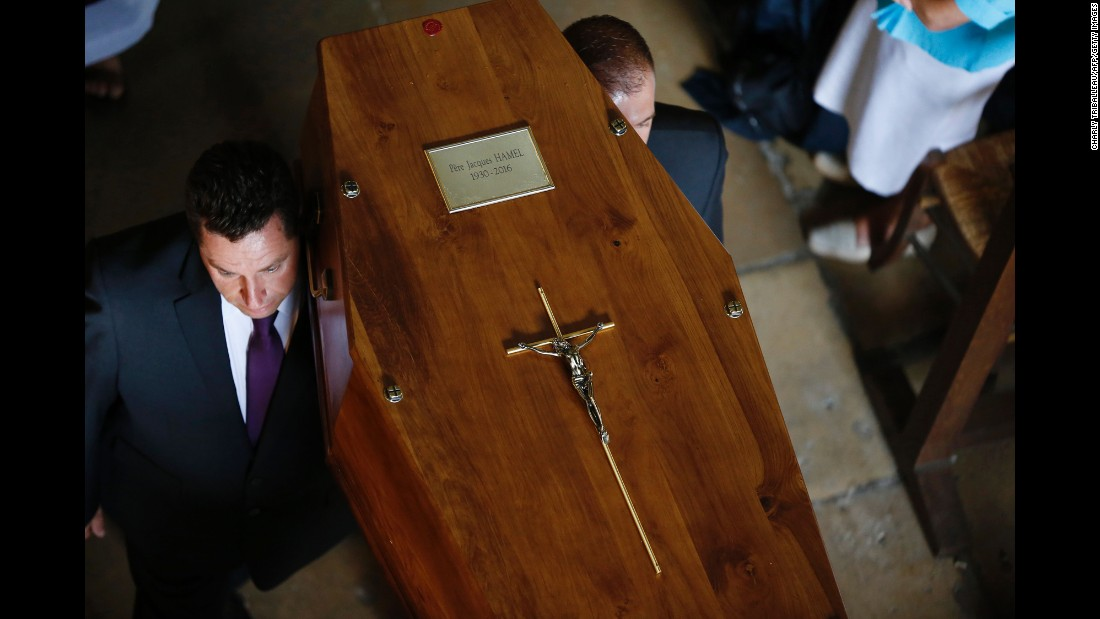 "Pallbearers in Rouen, France, carry the coffin of the Rev. Jacques Hamel on Tuesday, August 2. The 85-year-old priest <a href=""http://www.cnn.com/2016/08/02/europe/france-catholic-priest-hamel-funeral/index.html"" target=""_blank"">was slain in a Catholic church </a>by two Islamist radicals last month."