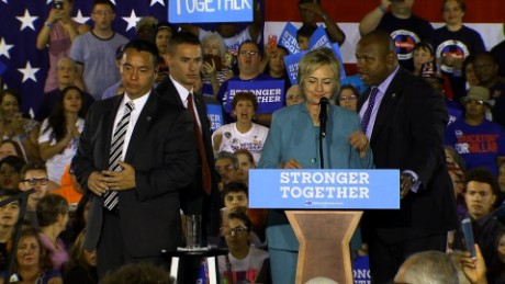 Secret Service jump on stage at Hillary Clinton rally