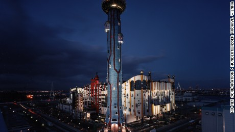"Maishima Incineration Plant, Osaka -- Dubbed ""MOP"" this Hundertwasser-designed incineration plant was finished in 2001. The 394-foot chimney stack draws attention thanks to its colorful and creative design."