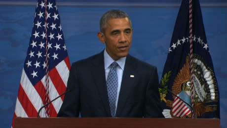 Barack Obama speaks during a press briefing