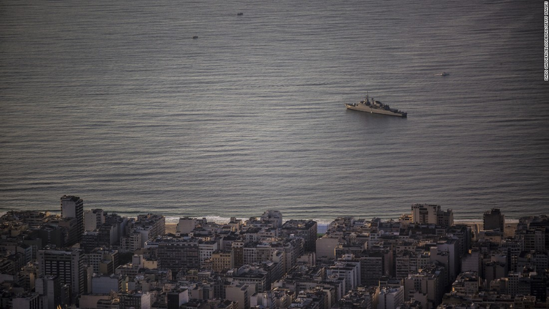 A navy boat patrols near Rio's Copacabana Beach on August 5.