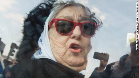 Hebe de Bonafini, leader of the Mothers of Plaza de Mayo human rights organization,   leaves Plaza de Mayo square in Buenos Aires, Argentina, on August 04, 2016. An Argentine judge issued an arrest warrant Thursday for the head of the acclaimed human rights group Mothers of the Plaza de Mayo, which is caught up in a politically messy corruption case. / AFP / EITAN ABRAMOVICH        (Photo credit should read EITAN ABRAMOVICH/AFP/Getty Images)