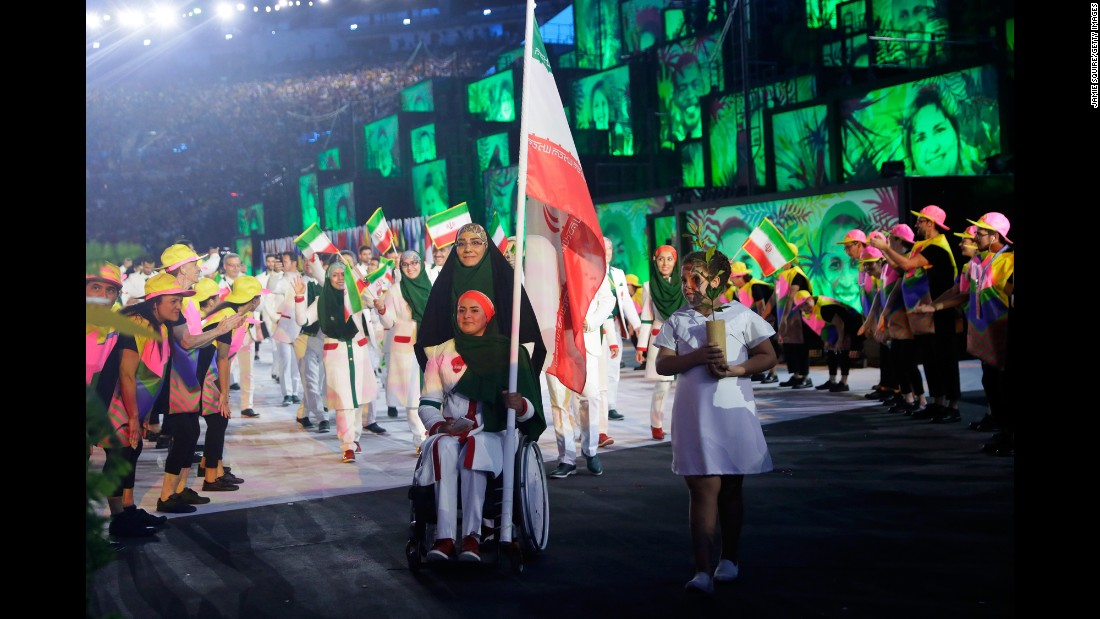 Iran's athletes enter the stadium.