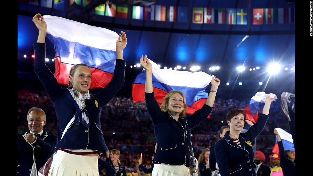 Members of the Russian team take part in the parade of nations.